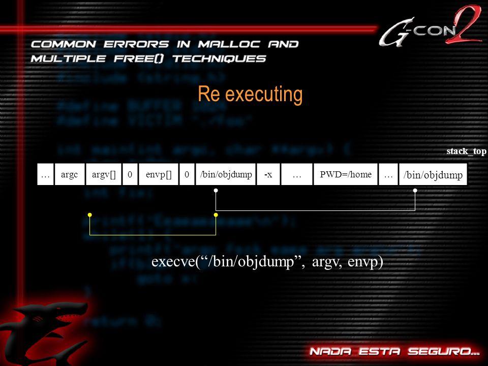 Re executing …argcargv[]0envp[]0/bin/objdump-x…PWD=/home… /bin/objdump execve(/bin/objdump, argv, envp) stack_top