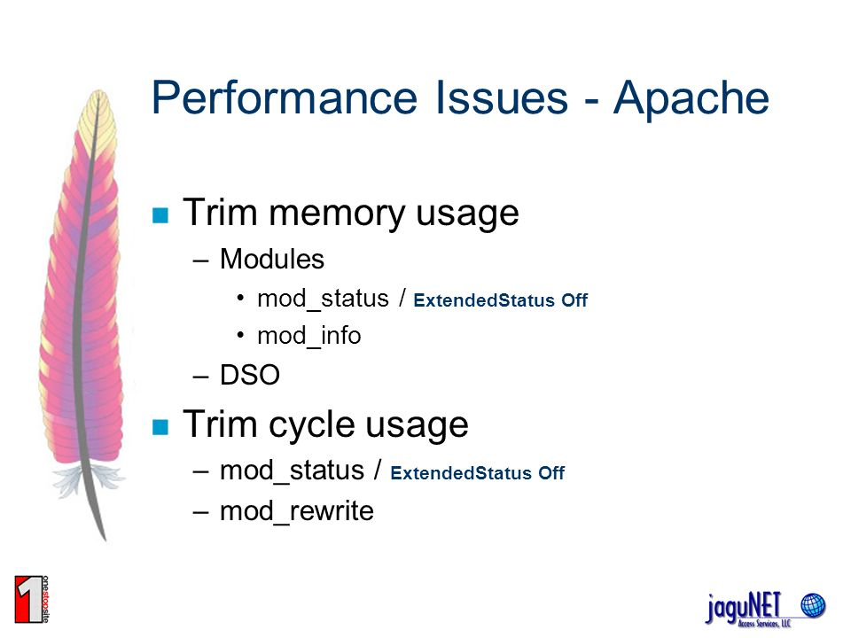 Performance Issues - Apache Trim memory usage –Modules mod_status / ExtendedStatus Off mod_info –DSO Trim cycle usage –mod_status / ExtendedStatus Off