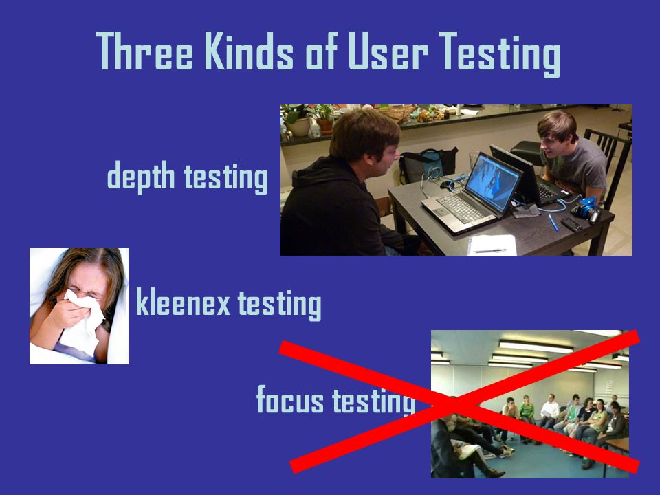 Three Kinds of User Testing depth testing kleenex testing focus testing