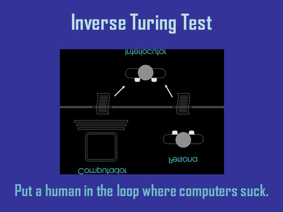 Inverse Turing Test Put a human in the loop where computers suck.