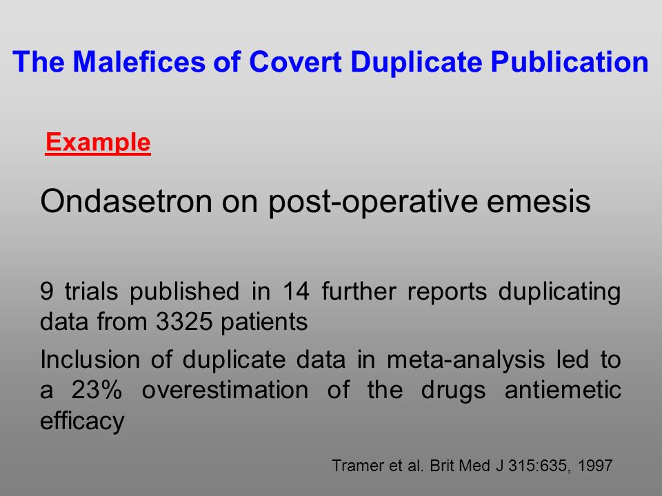 The Malefices of Covert Duplicate Publication Ondasetron on post-operative emesis 9 trials published in 14 further reports duplicating data from 3325 patients Inclusion of duplicate data in meta-analysis led to a 23% overestimation of the drugs antiemetic efficacy Tramer et al.