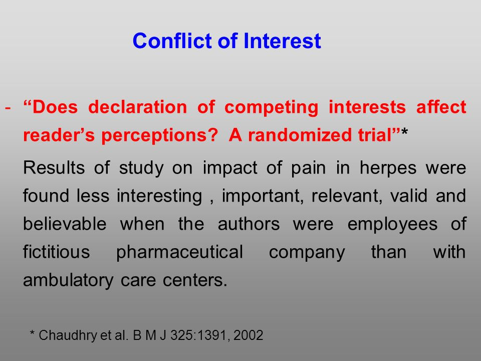 -Does declaration of competing interests affect readers perceptions.