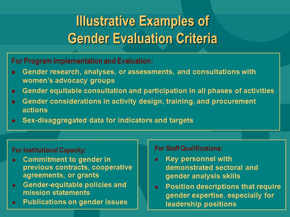 ADS Requirements, Jan 2003 ADS 201.3.12.15 Activity Approval Outline the most significant gender issues that need to be considered during implementati
