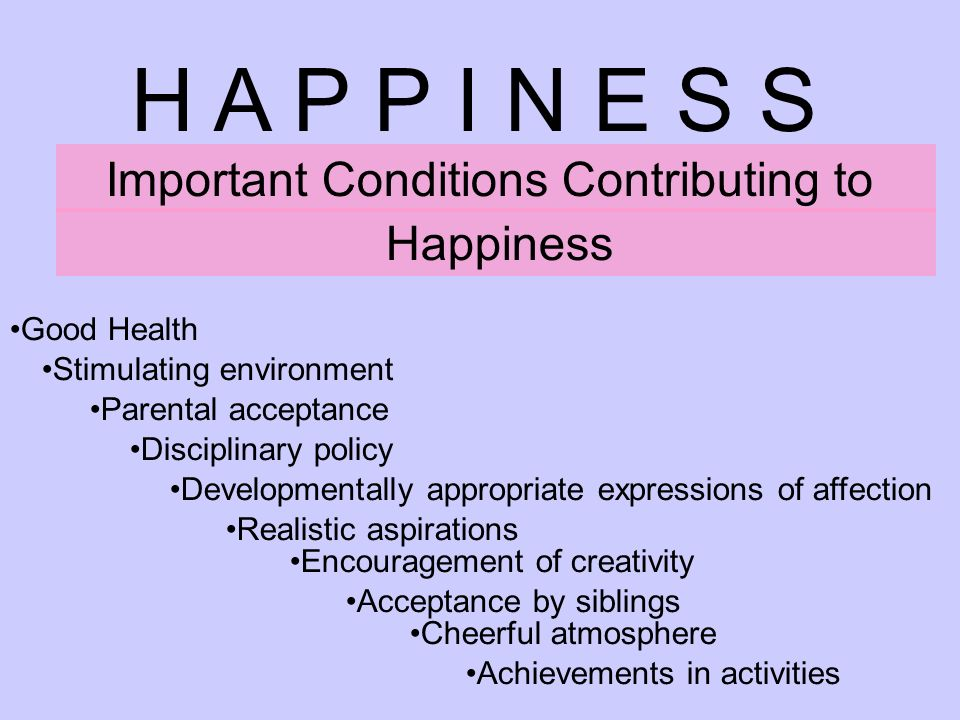 H A P P I N E S S Important Conditions Contributing to Happiness Good Health Stimulating environment Parental acceptance Disciplinary policy Developmentally appropriate expressions of affection Realistic aspirations Encouragement of creativity Acceptance by siblings Cheerful atmosphere Achievements in activities
