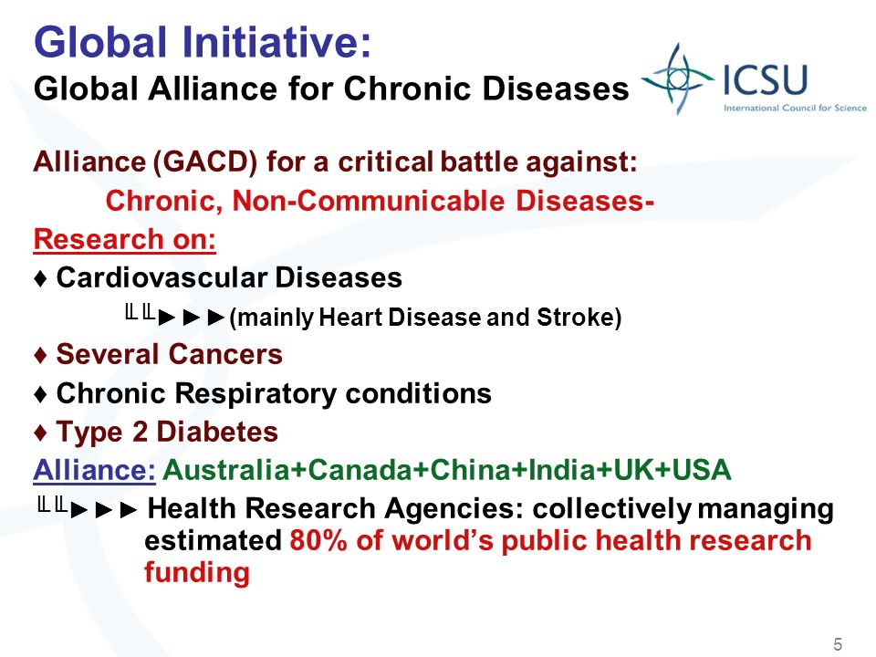 5 Global Initiative: Global Alliance for Chronic Diseases Alliance (GACD) for a critical battle against: Chronic, Non-Communicable Diseases- Research