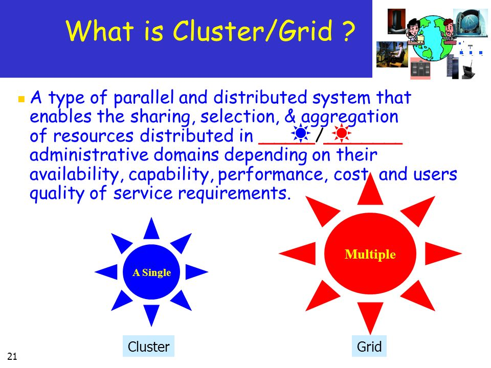 21 What is Cluster/Grid ? A type of parallel and distributed system that enables the sharing, selection, & aggregation of resources distributed in ___