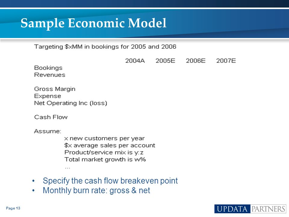 Page 13 Sample Economic Model Specify the cash flow breakeven point Monthly burn rate: gross & net