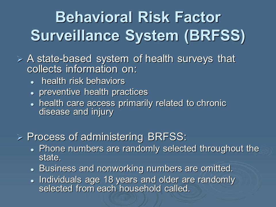 Behavioral Risk Factor Surveillance System (BRFSS) A state-based system of health surveys that collects information on: A state-based system of health