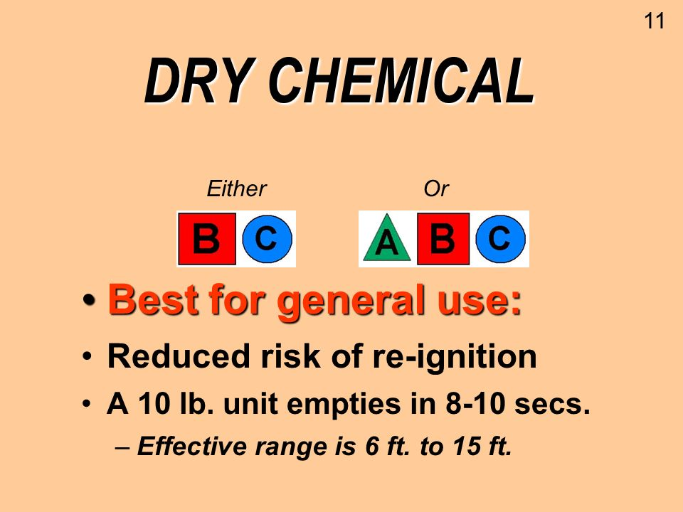 DRY CHEMICAL Best for general use:Best for general use: Reduced risk of re-ignition A 10 lb. unit empties in 8-10 secs. –Effective range is 6 ft. to 1