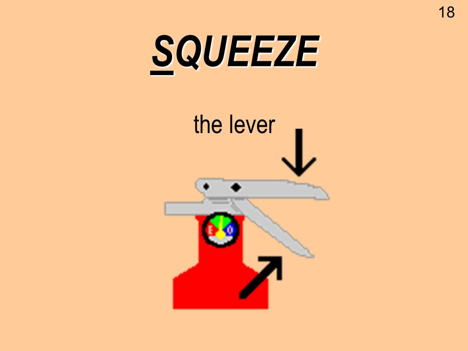 SQUEEZE the lever 18