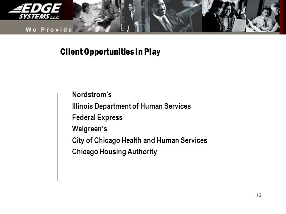 12 Client Opportunities In Play Nordstroms Illinois Department of Human Services Federal Express Walgreens City of Chicago Health and Human Services Chicago Housing Authority