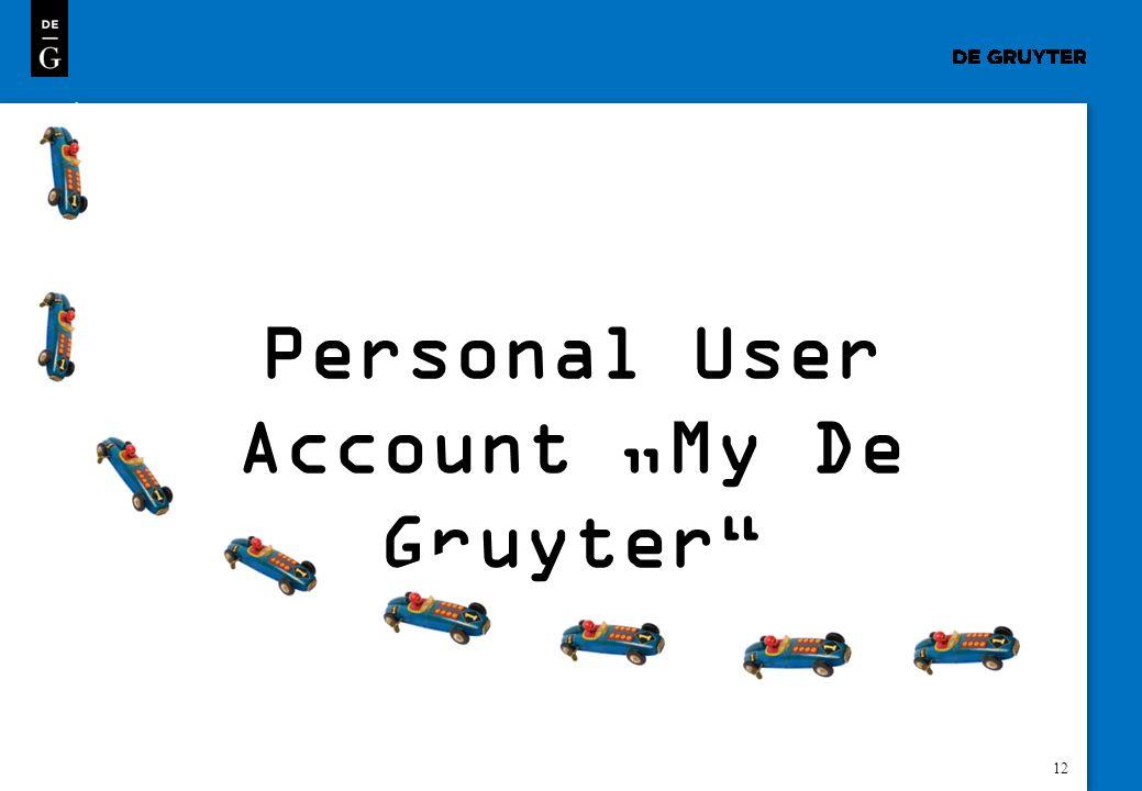 12 Personal User Account My De Gruyter