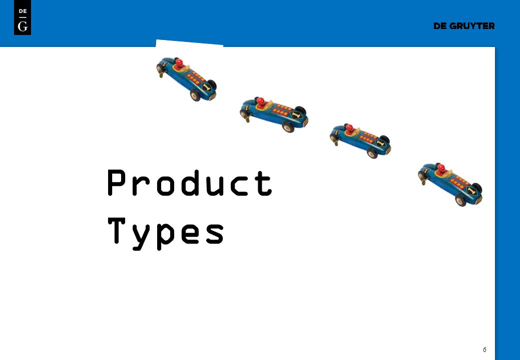 7 You will find an overview of all product types that we offer via the dropdown that opens on each page.