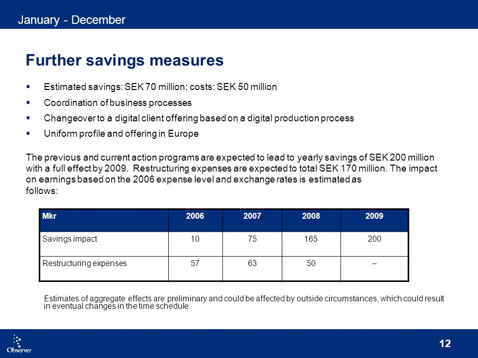 12 Further savings measures Estimated savings: SEK 70 million; costs: SEK 50 million Coordination of business processes Changeover to a digital client offering based on a digital production process Uniform profile and offering in Europe The previous and current action programs are expected to lead to yearly savings of SEK 200 million with a full effect by 2009.