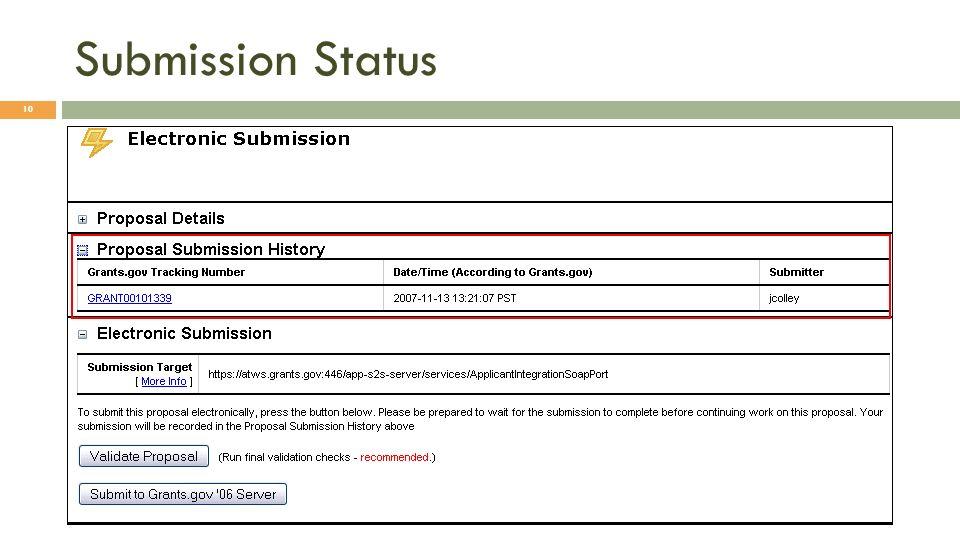 Submission Status 10