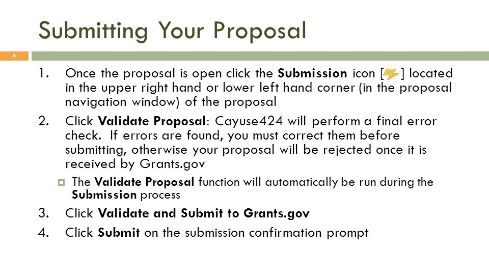 Submitting Your Proposal 7