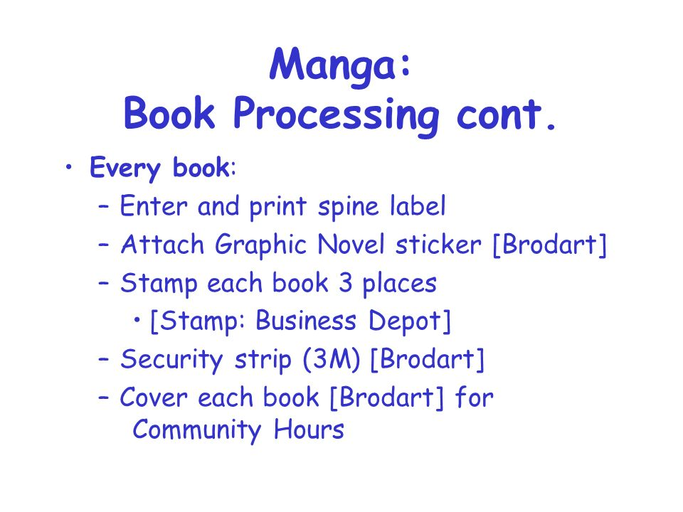 Manga: Book Processing cont.