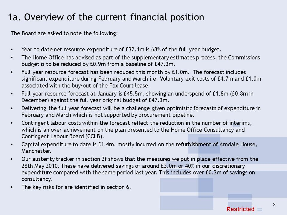 3 1a. Overview of the current financial position The Board are asked to note the following: Year to date net resource expenditure of £32.1m is 68% of