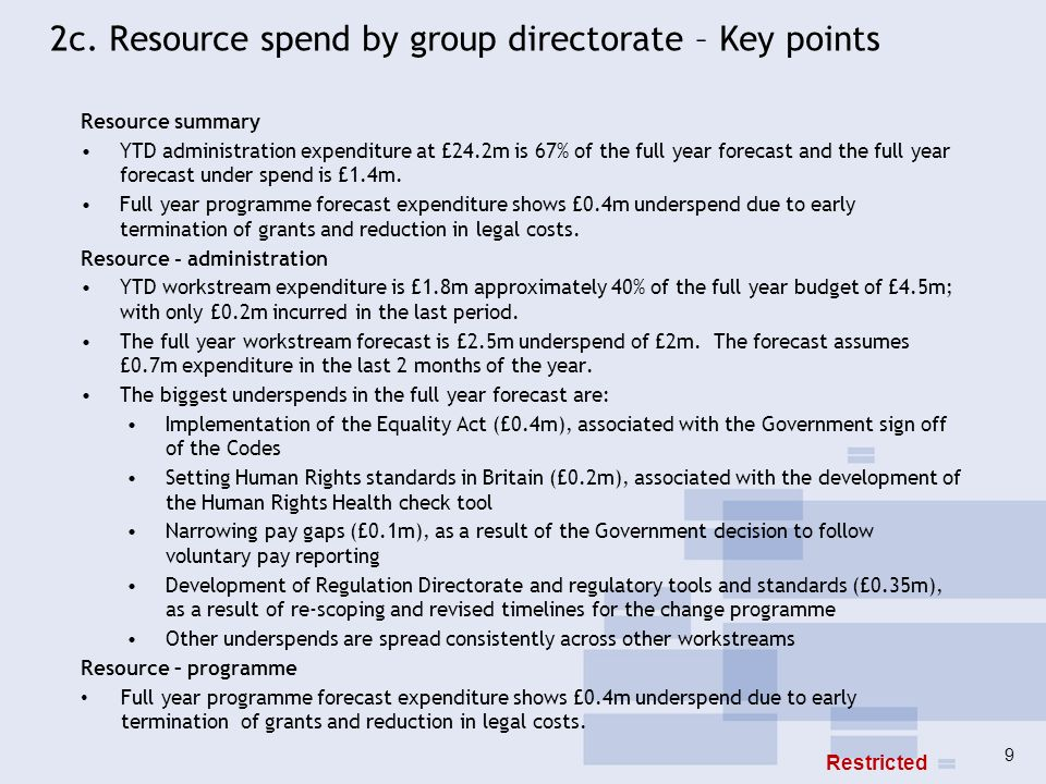 2c. Resource spend by group directorate – Key points Resource summary YTD administration expenditure at £24.2m is 67% of the full year forecast and th