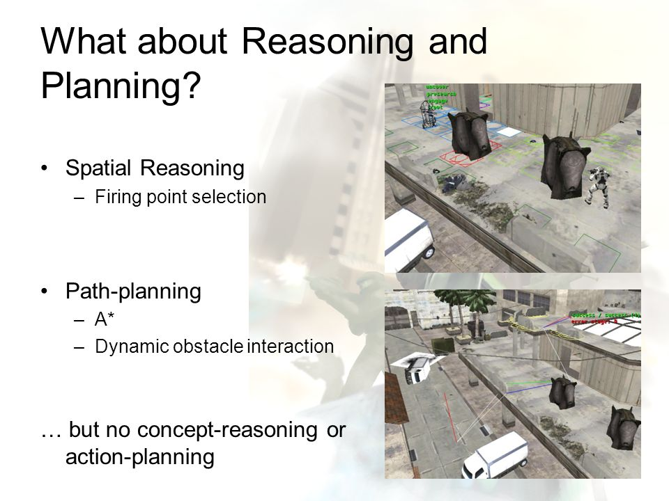 What about Reasoning and Planning? Spatial Reasoning –Firing point selection Path-planning –A* –Dynamic obstacle interaction … but no concept-reasonin