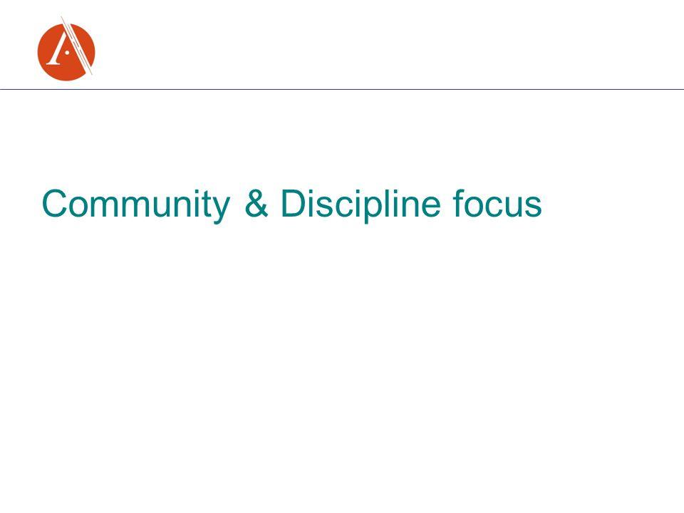 Community & Discipline focus