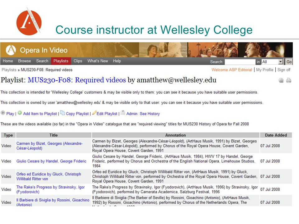 Course instructor at Wellesley College