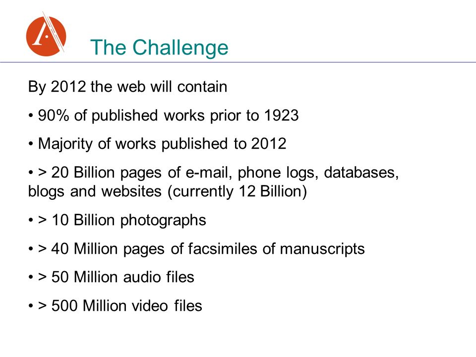 By 2012 the web will contain 90% of published works prior to 1923 Majority of works published to 2012 > 20 Billion pages of  , phone logs, databases, blogs and websites (currently 12 Billion) > 10 Billion photographs > 40 Million pages of facsimiles of manuscripts > 50 Million audio files > 500 Million video files
