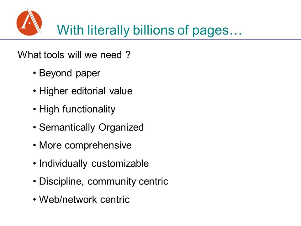 With literally billions of pages… What tools will we need .