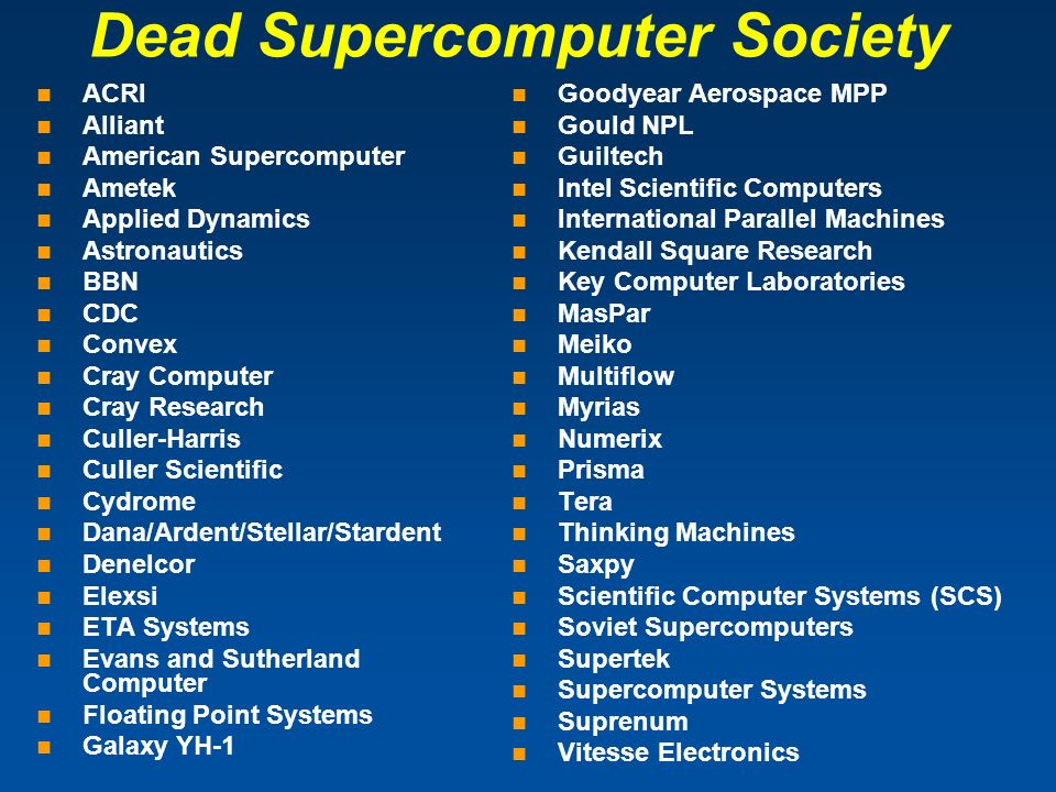 ACRI Alliant American Supercomputer Ametek Applied Dynamics Astronautics BBN CDC Convex Cray Computer Cray Research Culler-Harris Culler Scientific Cy