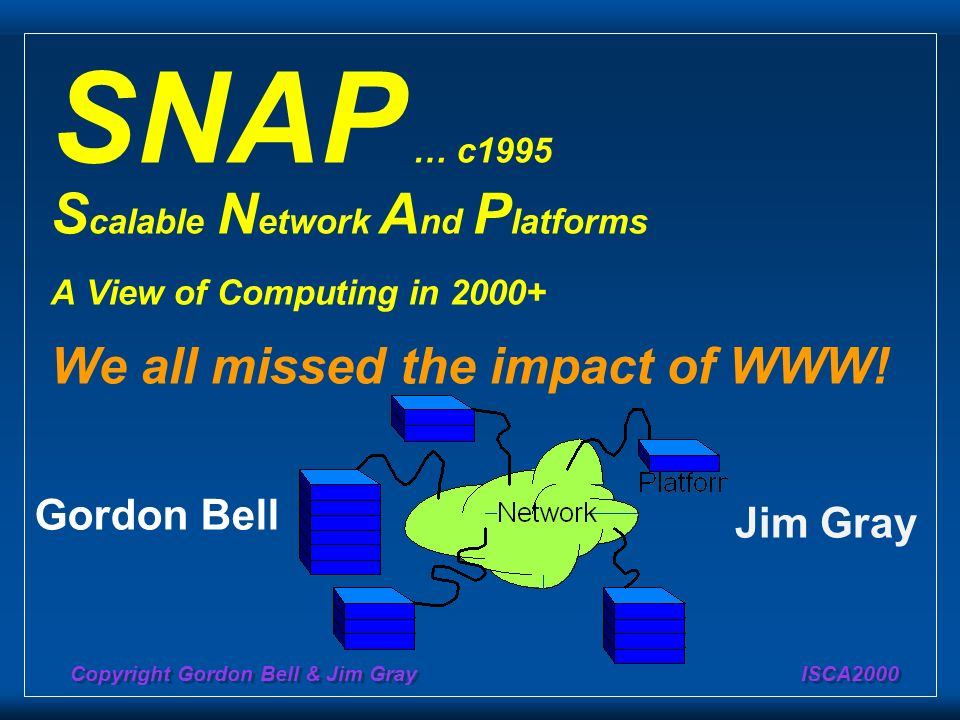 Copyright Gordon Bell & Jim Gray ISCA2000 SNAP … c1995 S calable N etwork A nd P latforms A View of Computing in 2000+ We all missed the impact of WWW