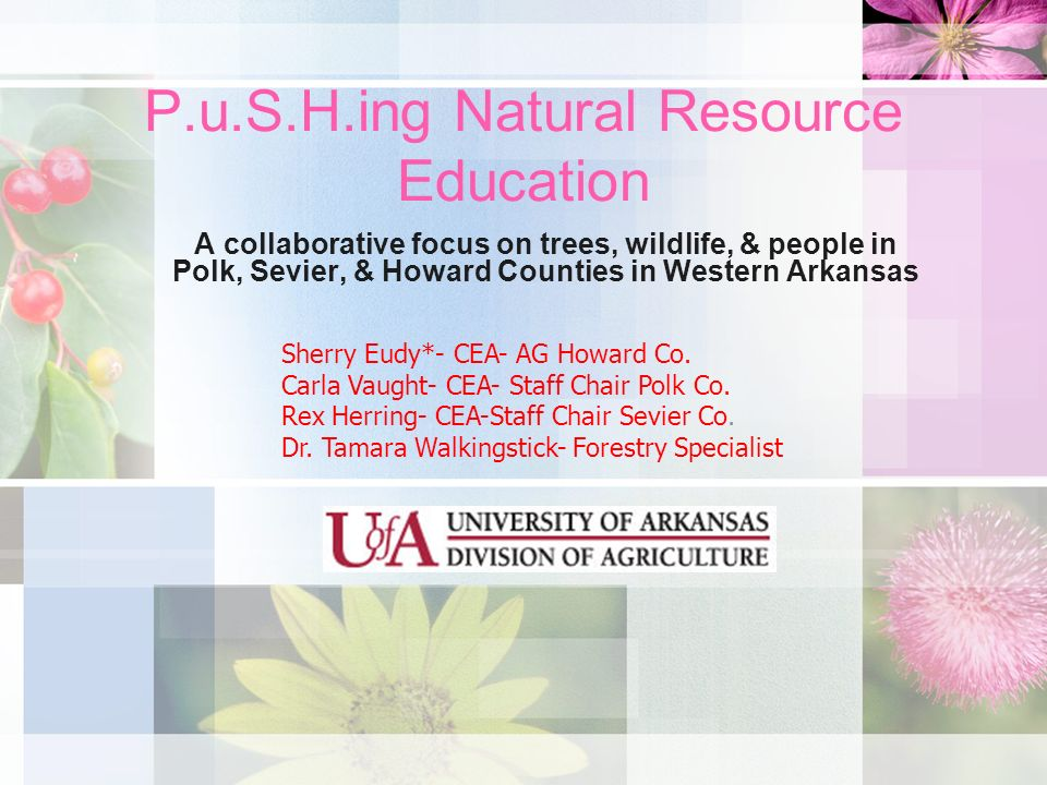 P.u.S.H.ing Natural Resource Education A collaborative focus on trees, wildlife, & people in Polk, Sevier, & Howard Counties in Western Arkansas Sherr