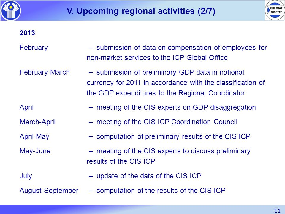 11 V. Upcoming regional activities (2/7) 2013 February – submission of data on compensation of employees for non-market services to the ICP Global Off