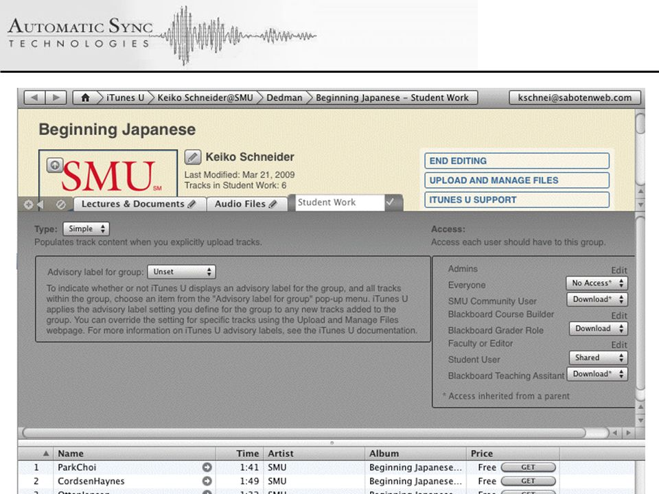 © 2008 Automatic Sync Technologies Adding Content to iTunes U