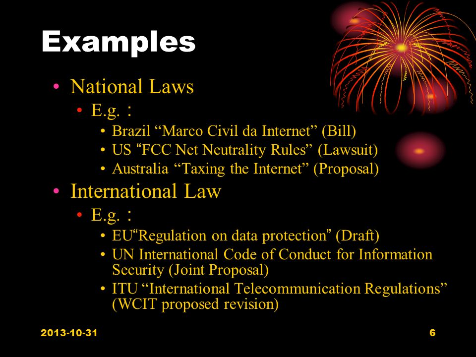 6 Examples National Laws E.g.