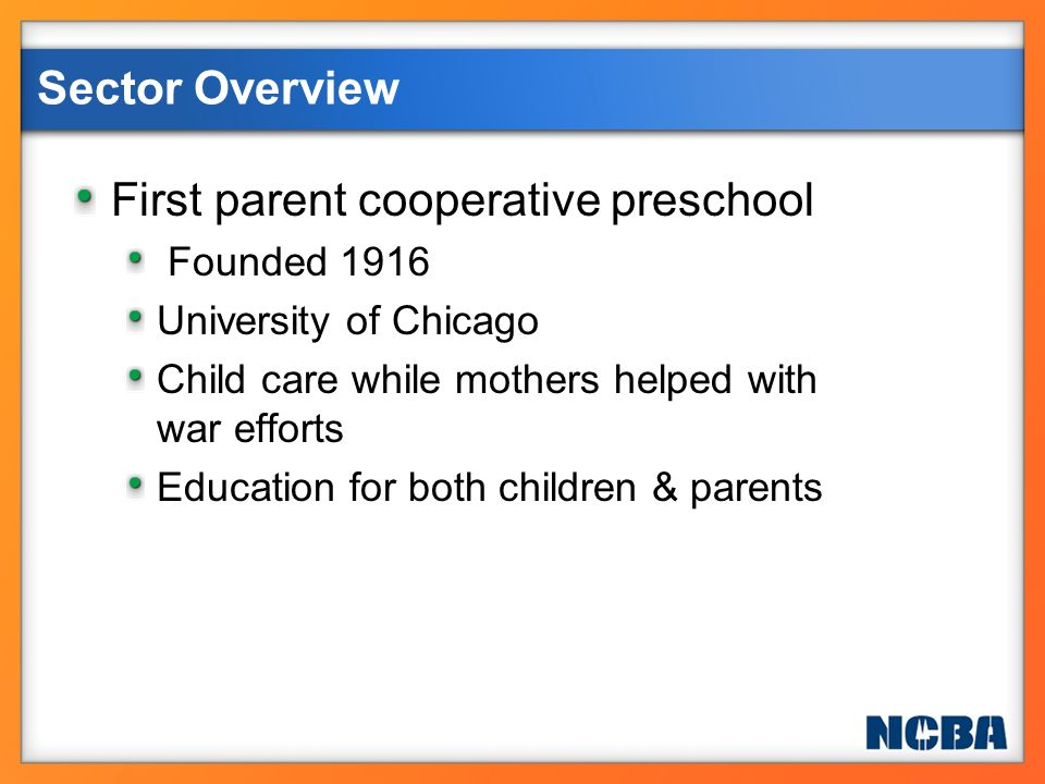 More than 1000 preschool co-ops and child care centers in the U.S.