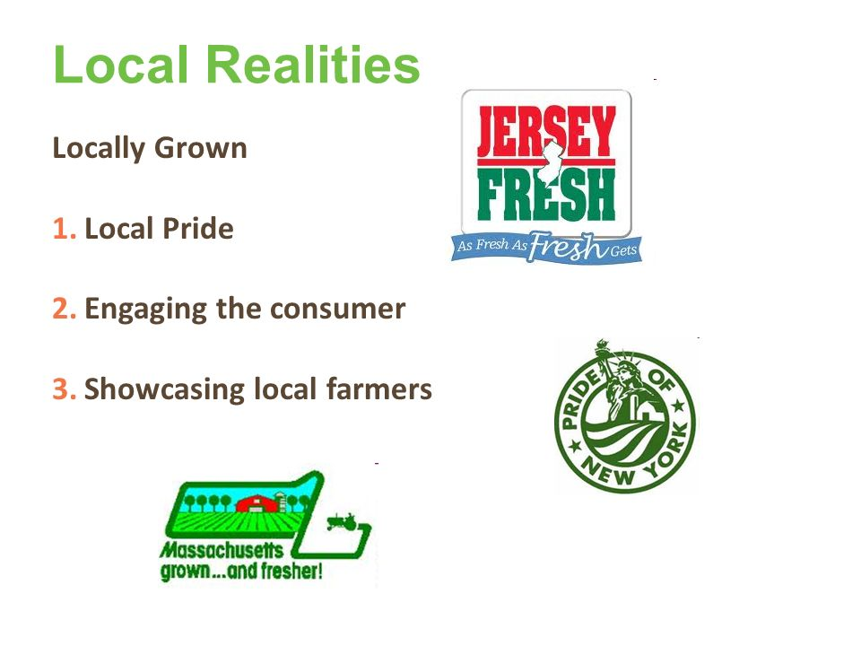 Local Realities Locally Grown 1.Local Pride 2.Engaging the consumer 3.Showcasing local farmers