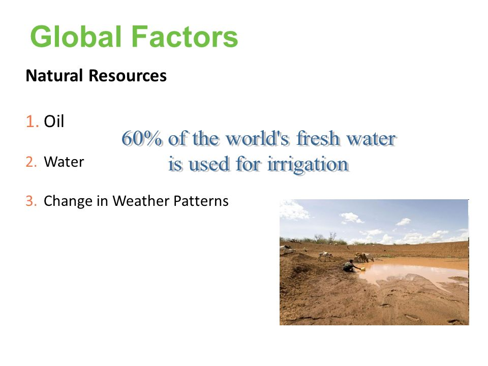Global Factors Natural Resources 1.Oil 2.Water 3.Change in Weather Patterns