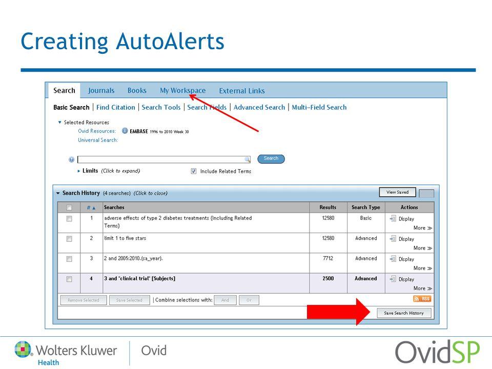 Creating AutoAlerts