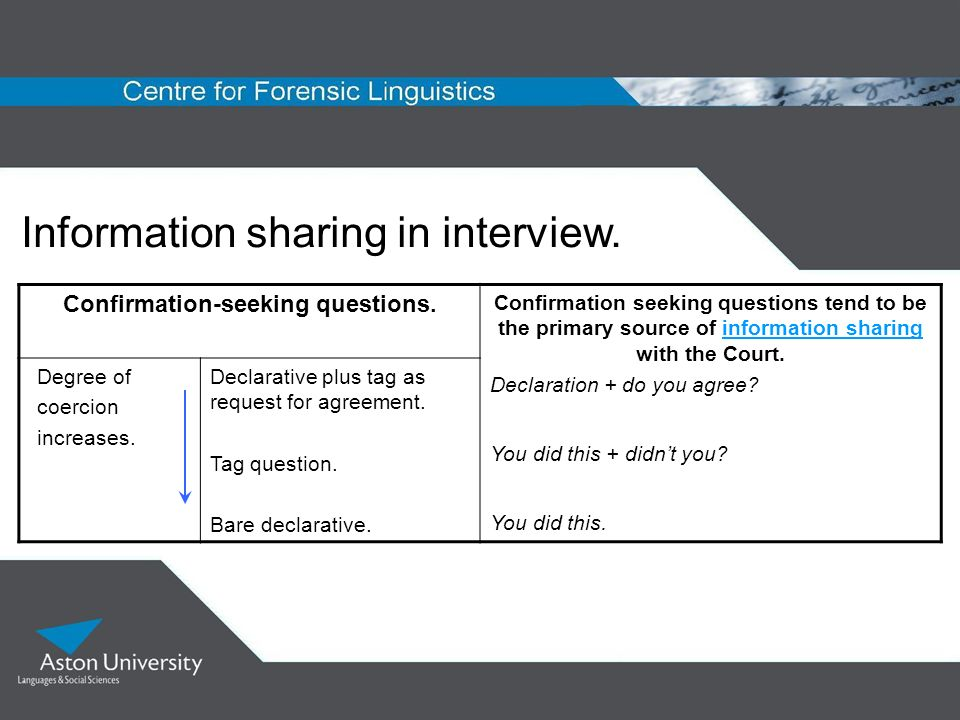 Information sharing in interview. Confirmation-seeking questions. Confirmation seeking questions tend to be the primary source of information sharing