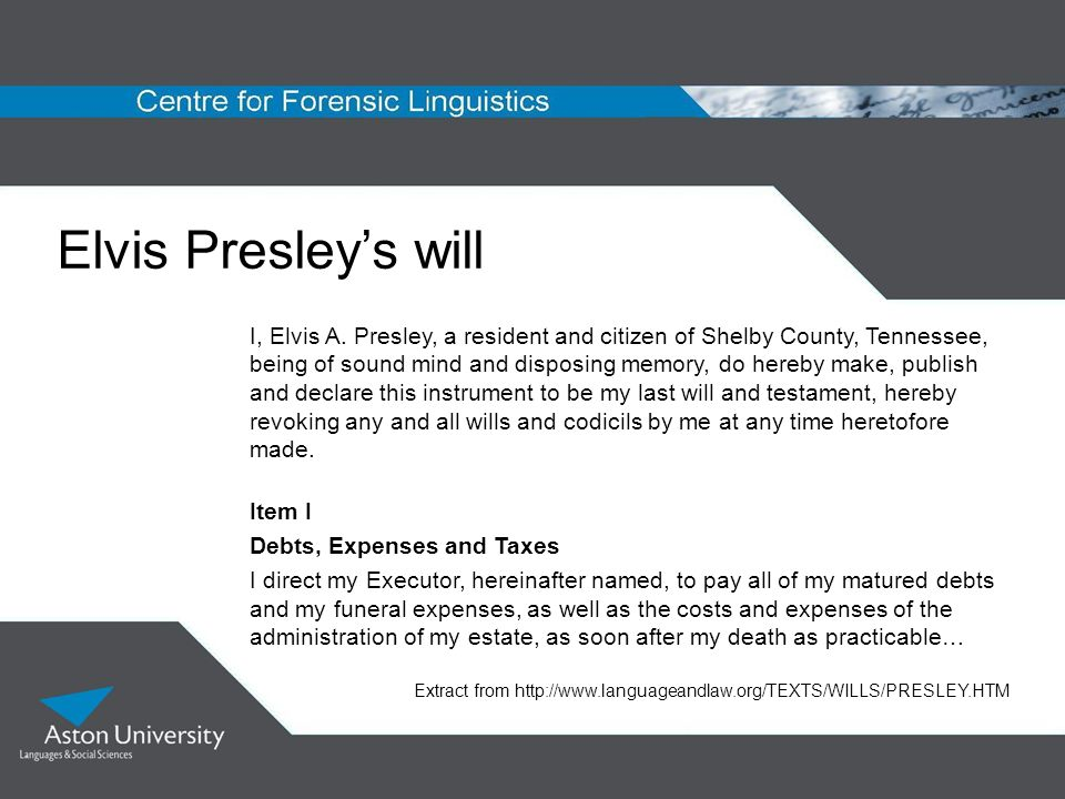 Elvis Presleys will I, Elvis A. Presley, a resident and citizen of Shelby County, Tennessee, being of sound mind and disposing memory, do hereby make,