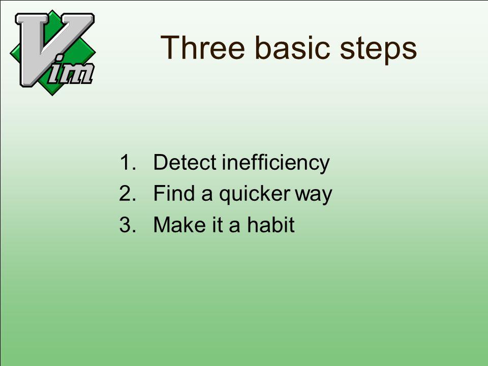 Three basic steps 1.Detect inefficiency 2.Find a quicker way 3.Make it a habit