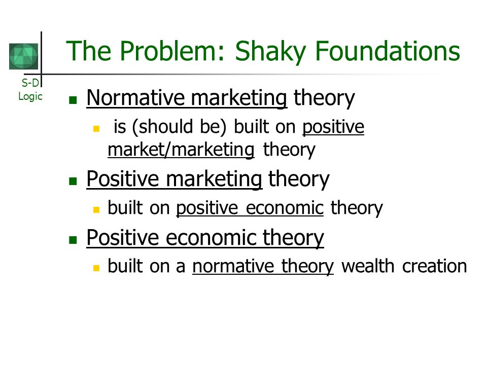 S-D Logic The Problem: Shaky Foundations Normative marketing theory is (should be) built on positive market/marketing theory Positive marketing theory