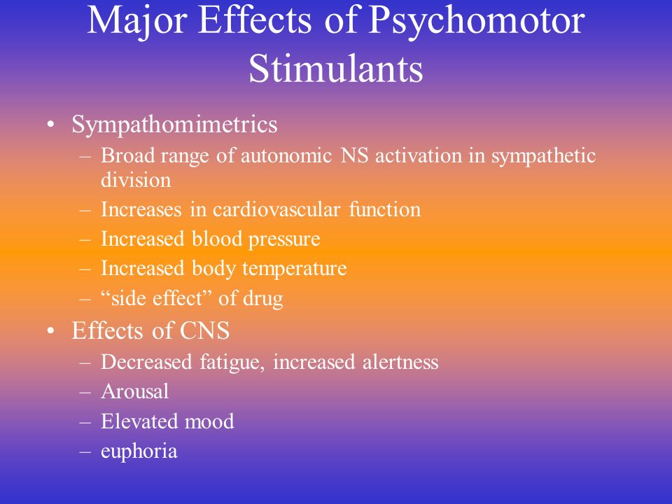 Repeated Administration Tolerance –Most autonomic effects –Anorectic effects Sensitization –Rewarding effects –Enhances psychosis (AMPH)