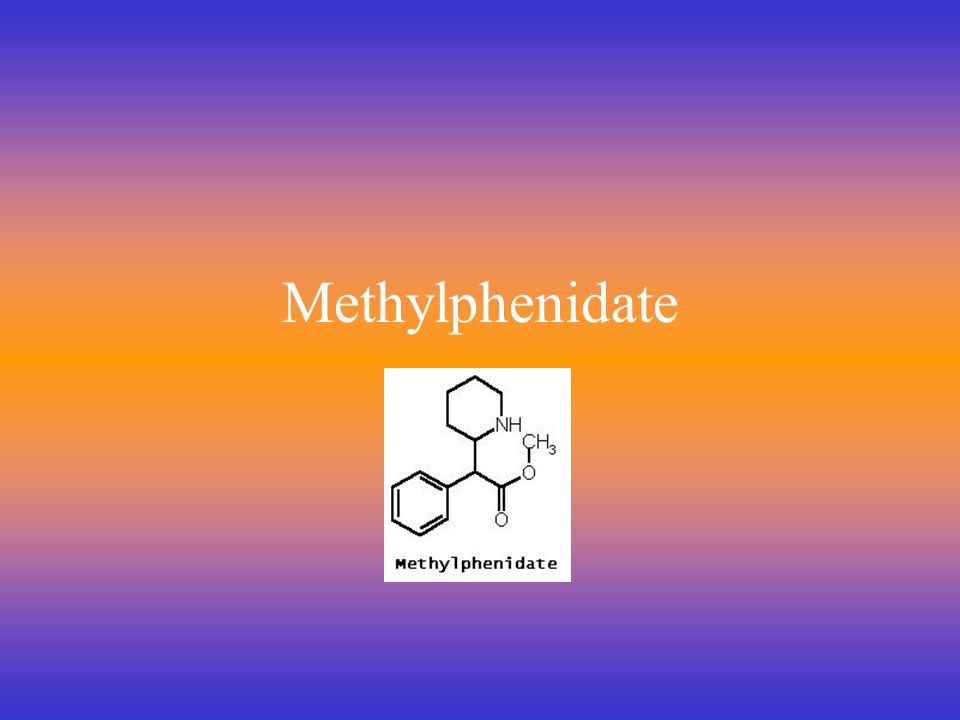 Methylphenidate Overview First synthesized in 1940s –Marketed as Ritalin in 1960s Schedule II since 1971 Used for treatment of ADHD Exact mechanism of action unknown Metabolism occurs extracellularly –Ritalinic acid Excreted in the urine http://www.methylphenidate.net/