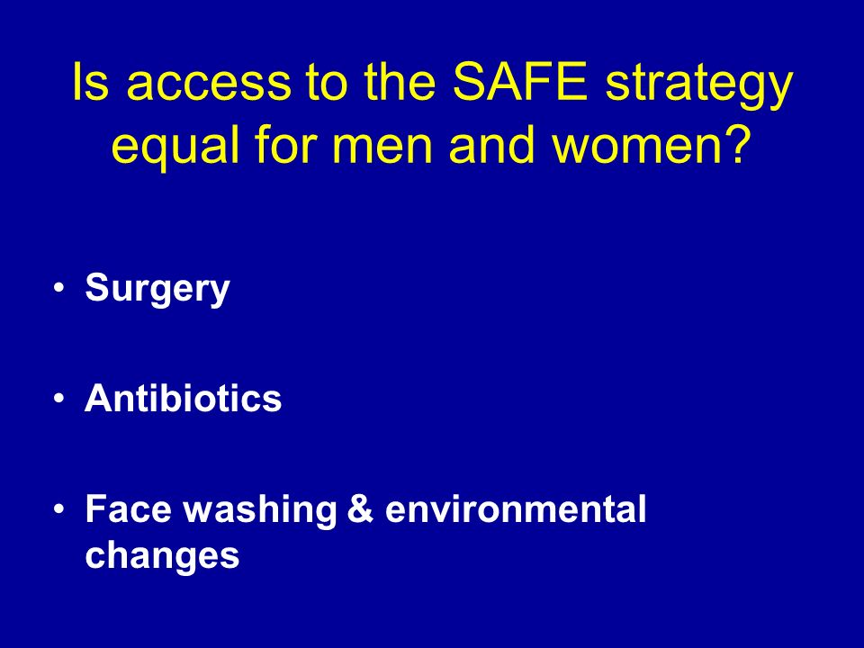 Is access to the SAFE strategy equal for men and women? Surgery Antibiotics Face washing & environmental changes