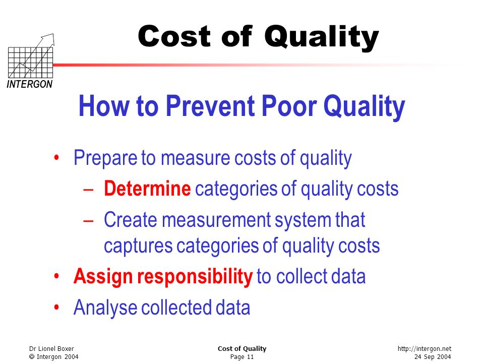 http://intergon.net 24 Sep 2004 Cost of Quality INTERGON Dr Lionel Boxer Intergon 2004 Cost of Quality Page 12 Determine Quality Cost Categories Understand your product Understand your process Understand where problems occur Determine precisely what goes wrong Determine what costs represents each problem
