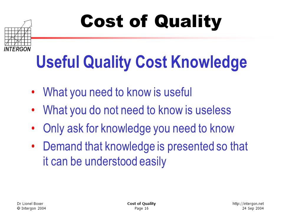 http://intergon.net 24 Sep 2004 Cost of Quality INTERGON Dr Lionel Boxer Intergon 2004 Cost of Quality Page 16 Useful Quality Cost Knowledge What you