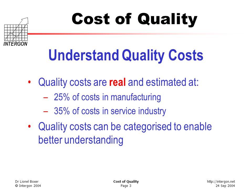 http://intergon.net 24 Sep 2004 Cost of Quality INTERGON Dr Lionel Boxer Intergon 2004 Cost of Quality Page 3 Understand Quality Costs Quality costs a