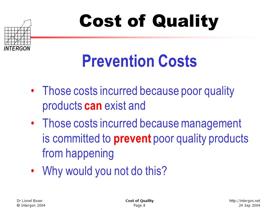http://intergon.net 24 Sep 2004 Cost of Quality INTERGON Dr Lionel Boxer Intergon 2004 Cost of Quality Page 8 Prevention Costs Those costs incurred be