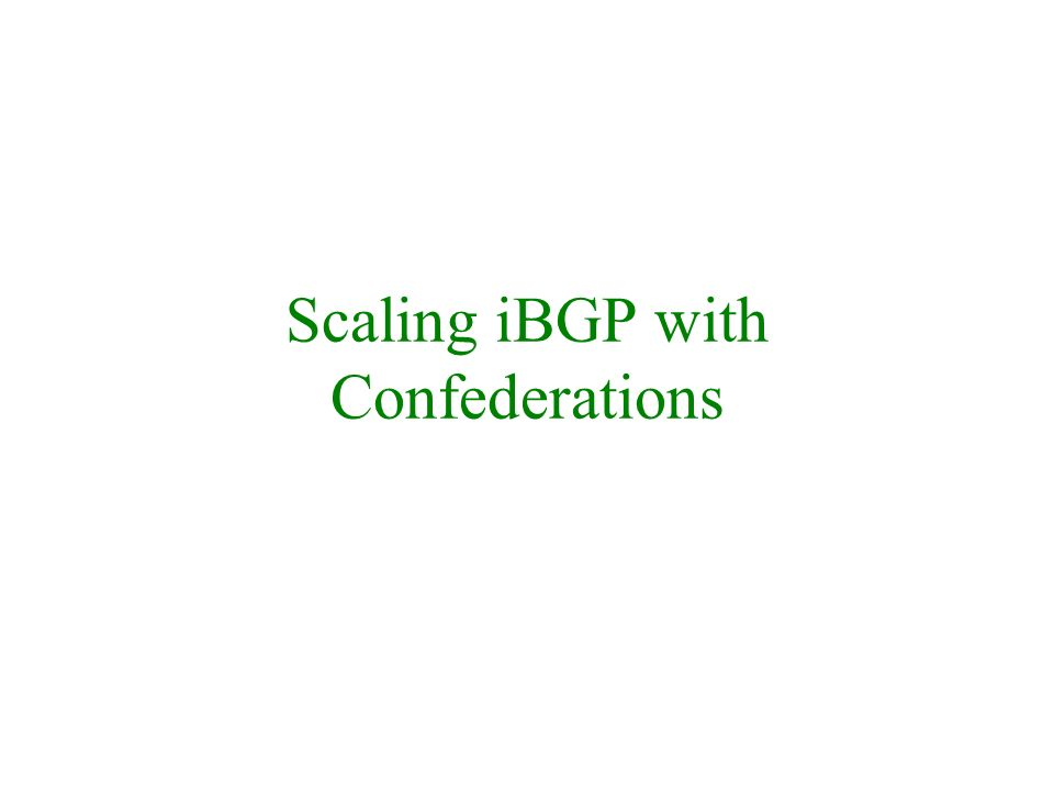 Scaling iBGP with Confederations